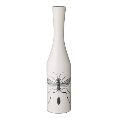Szitakötős váza, fehér kerámia