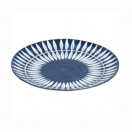 Skagen levélmintás desszertes tányér, kék kerámia