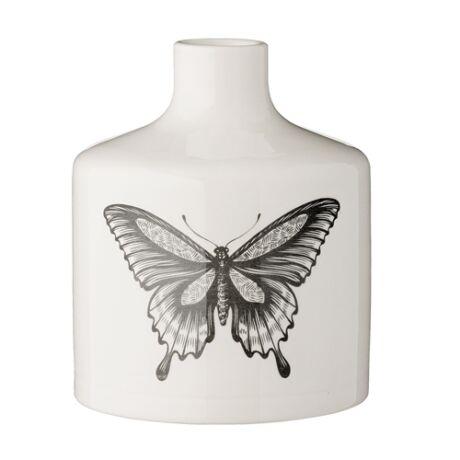 Pillangós váza, fehér kerámia