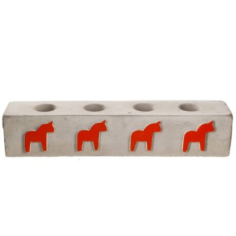 Dala gyertyatartó, Szürke/piros cement