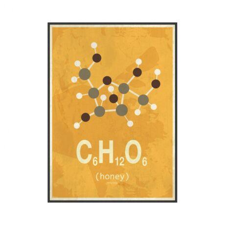 Molekula Méz kép, fekete, 50x70cm