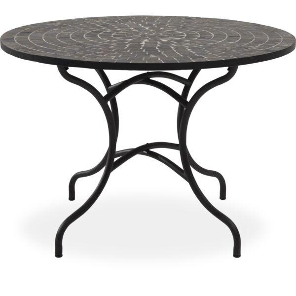 Korsika kerti asztal, mozaik asztallap, fekete fém láb, D110 cm
