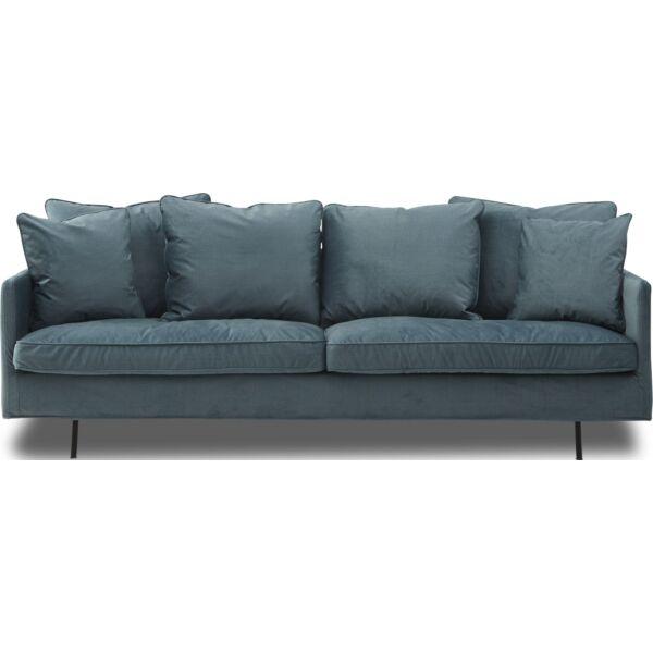 Julia 3 személyes XL kanapé, petrol szövet, fekete fém láb