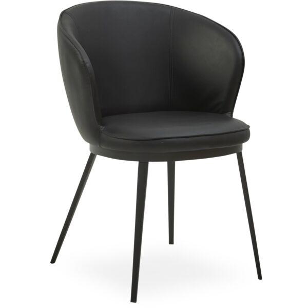 Gain design szék, fekete textilbőr, fekete fém láb