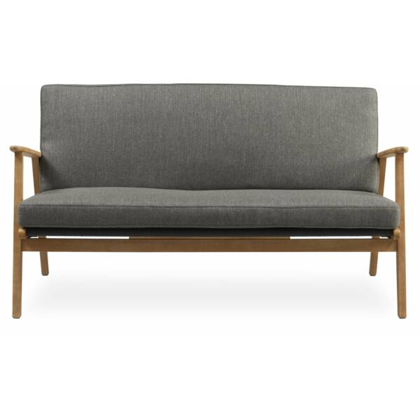 Bjorg 2 személyes kerti kanapé, szürke, akác láb
