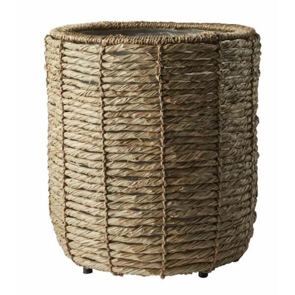 Betonie kaspó, natúr rattan, D27 cm