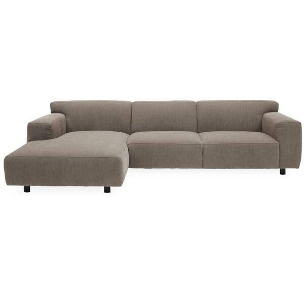 Siena ottomános kanapé, balos, homok kordbársony, fekete fém láb