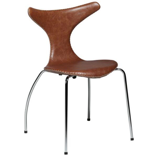 Dolphin design szék, világosbarna bőr, króm láb