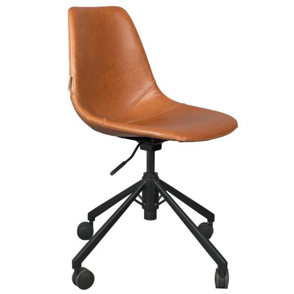 Franky irodai design szék, barna textilbőr