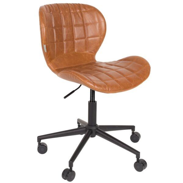 OMG irodai design szék, barna textilbőr