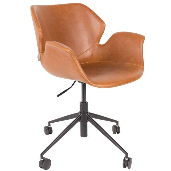 Nikki irodai design szék, barna textilbőr