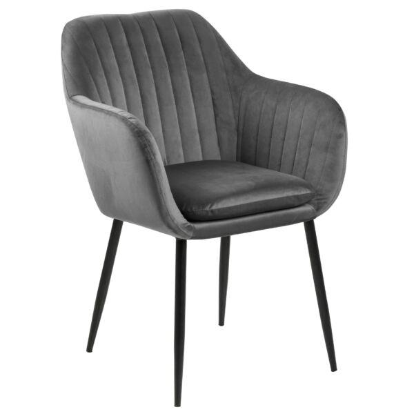 Emilia karfás design szék, sötétszürke bársony