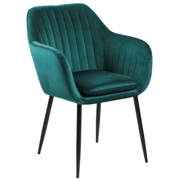 Emilia karfás design szék, sötétzöld bársony