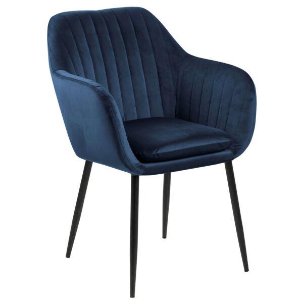 Emilia karfás design szék, sötétkék bársony, fekete láb