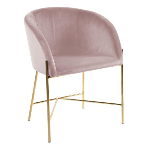Nelson szék, rózsaszín bársony, aranyozott króm láb