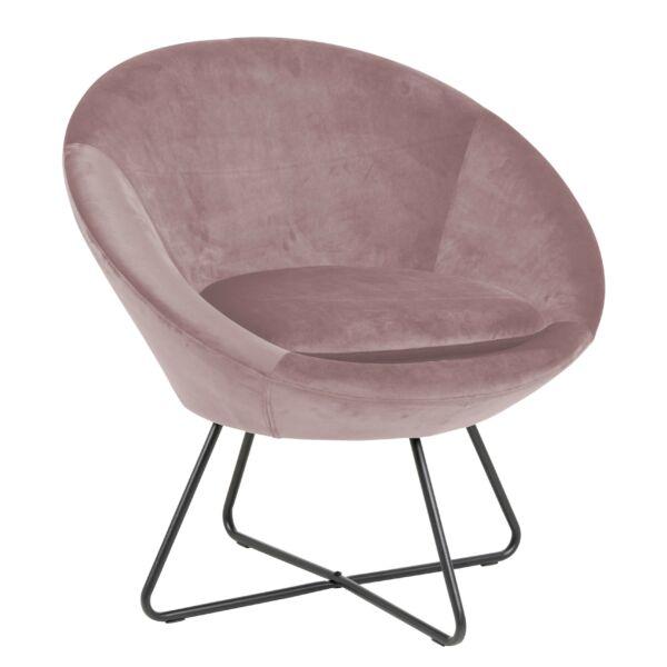 Center fotel, rózsaszín bársony