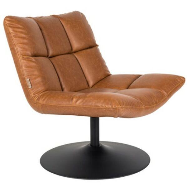 Bar lounge fotel, vintage barna textilbőr