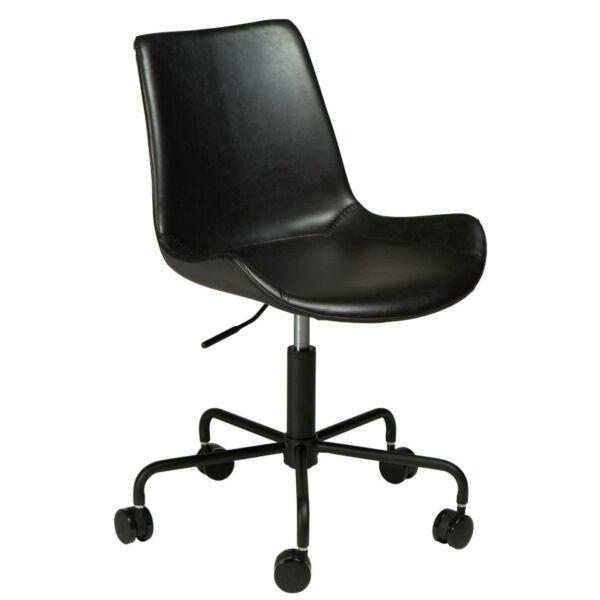 Hype görgős design szék, fekete bőr