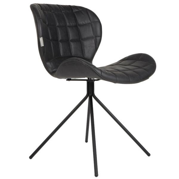 OMG LL design szék, fekete textilbőr