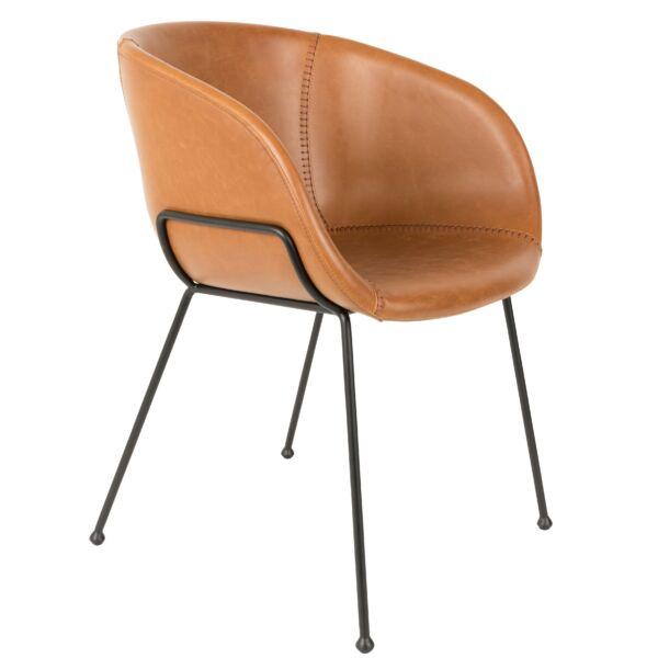 Feston design szék, vintage barna textilbőr
