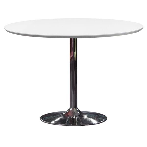 3220 kerek étkezőasztal, fehér/króm, 110 cm