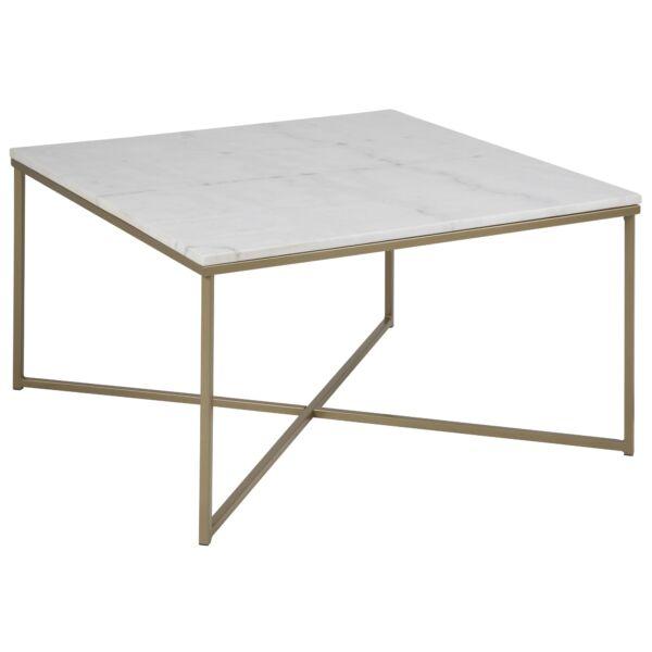 Alisma dohányzóasztal szögletes fehér márvány asztallap, sárgaréz láb