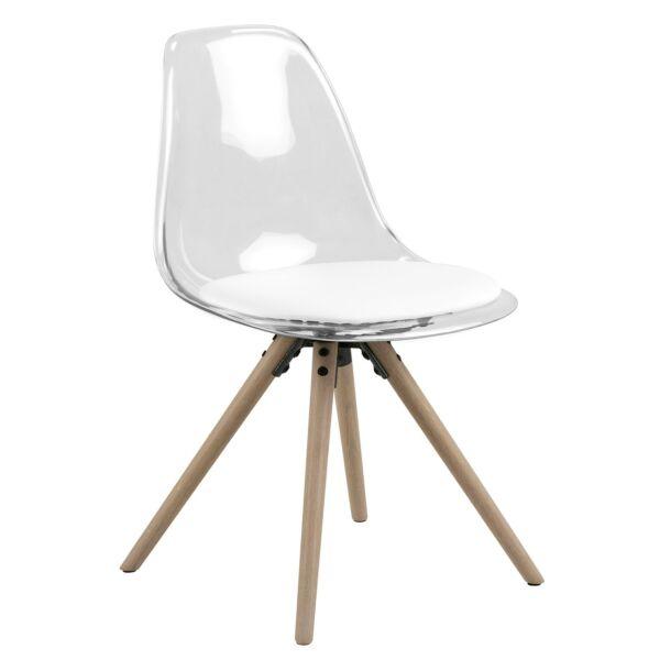 Henning design szék, átlátszó- fehér