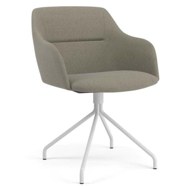 Sofia szék, világosszürke, fehér fém láb