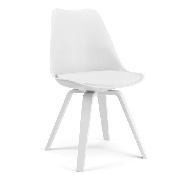 Gina szék, fehér textilbőr/műanyag ülőlappal, fehér lábbal