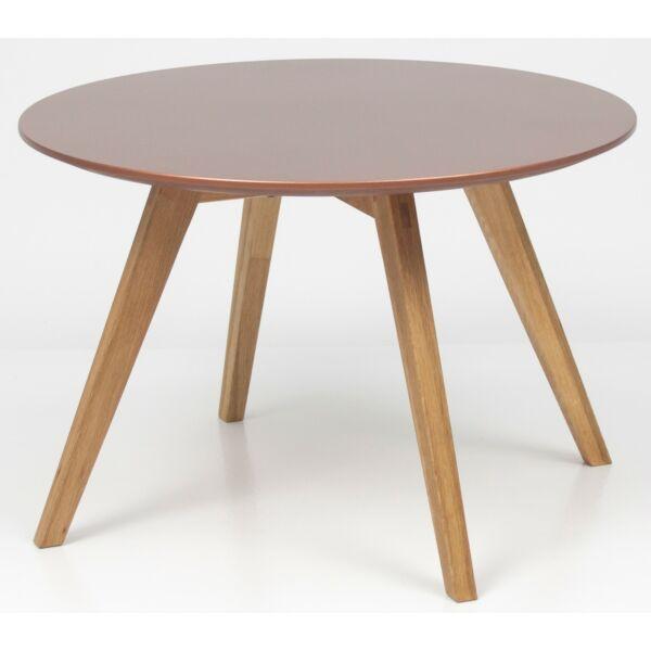 Lola dohányzóasztal, réz asztallap, tölgy láb