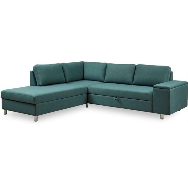 Devon Flex sarok kanapéágy nyitott véggel, balos, sötétzöld