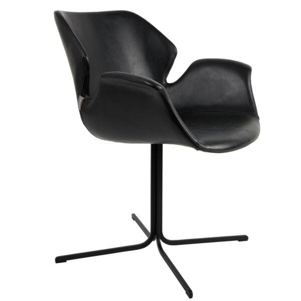 Nikki design szék, fekete textilbőr