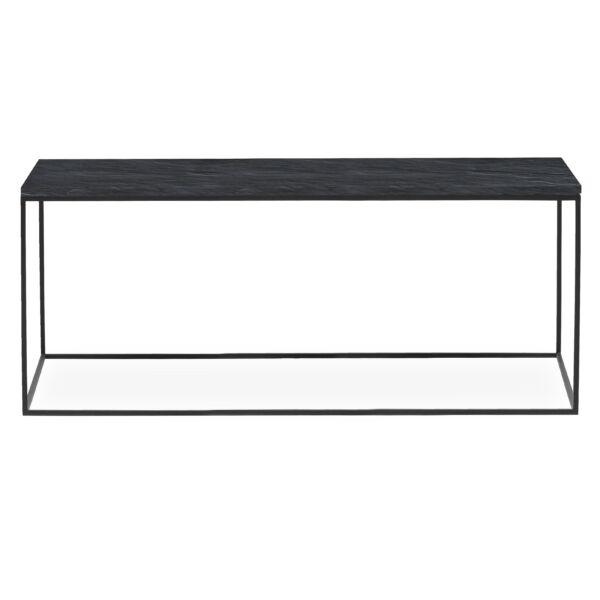 Square dohányzóasztal, 100 x 50 cm fekete pala