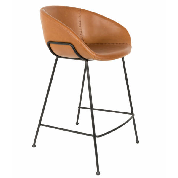 Feston alacsony design bárszék, barna textilbőr