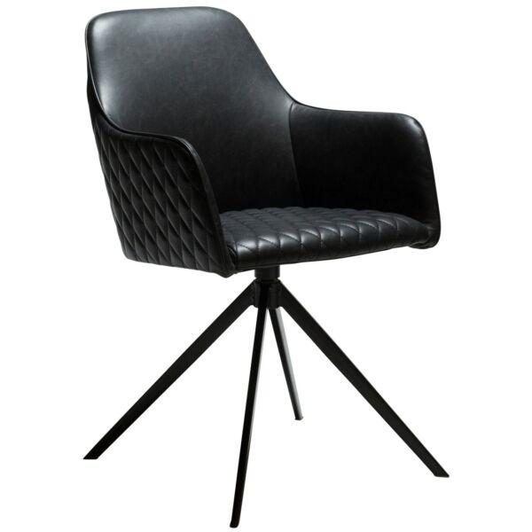 Twine szék, vintage fekete textilbőr
