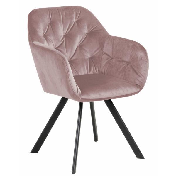 Silja design szék, rózsaszín bársony