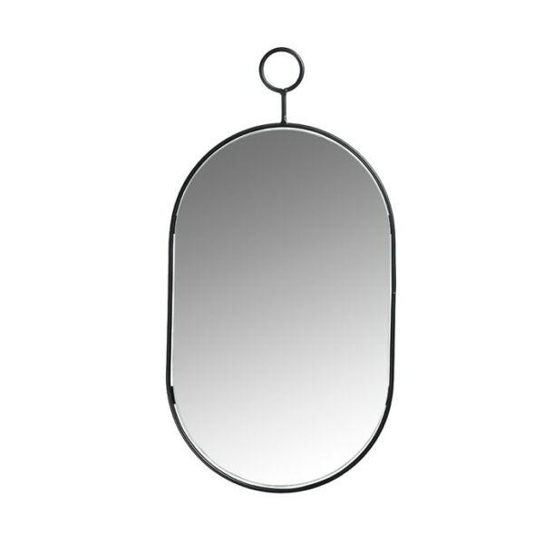 Ovális tükör, fekete fém kerettel