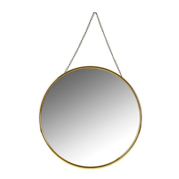 Kerek tükör, aranyozott műanyag kerettel