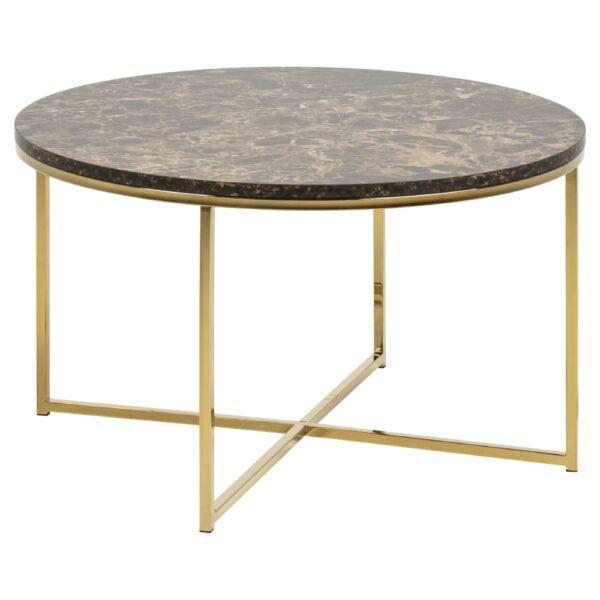 Alisma dohányzóasztal kerek, barna márvány mintás lap, aranyozott láb