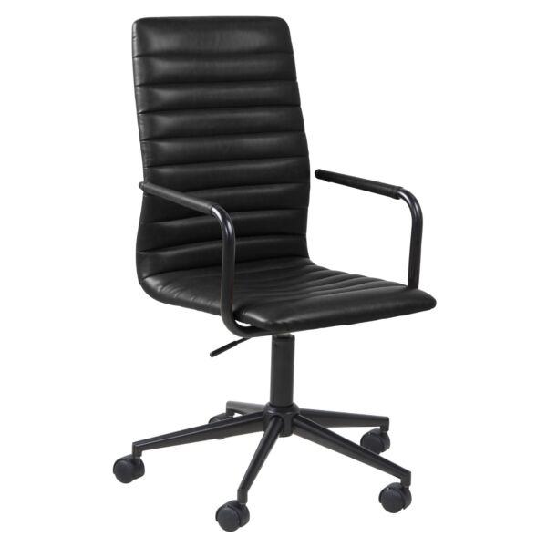 Winslow irodai design szék karfás, fekete textilbőr