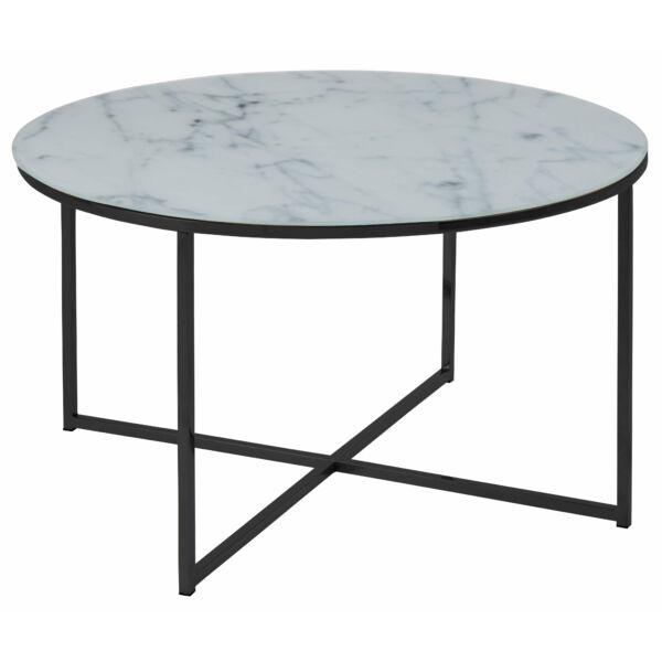Alisma dohányzóasztal kerek, printelt fehér márvány üveg, fekete láb