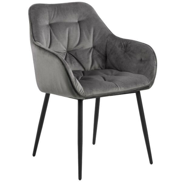 Brooke design szék, sötétszürke bársony