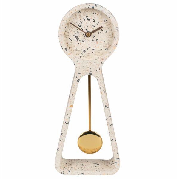 Pendulum asztali óra, fehér terrazzo