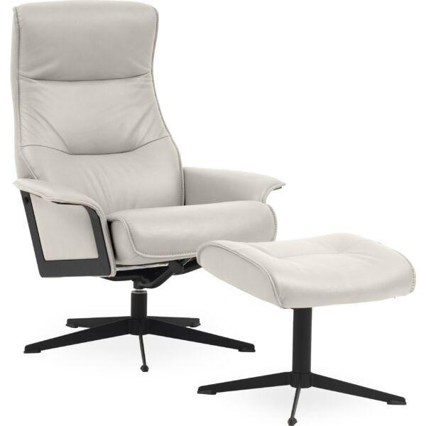 Luxor L fotel + lábtartó, világosszürke bőr