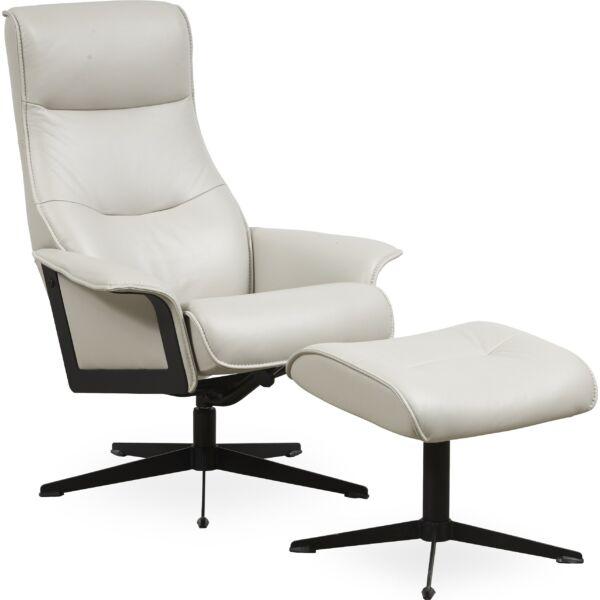 Luxor M fotel + lábtartó, világosszürke bőr