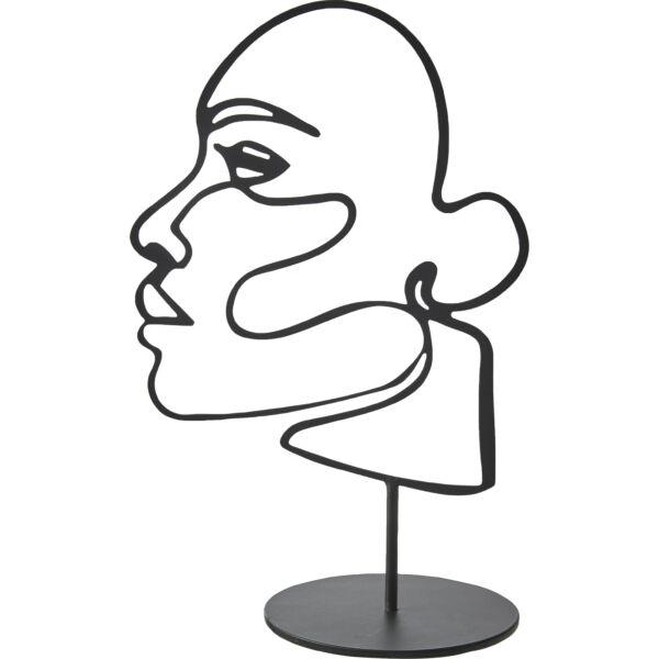 Lazy face szobor, fekete fém
