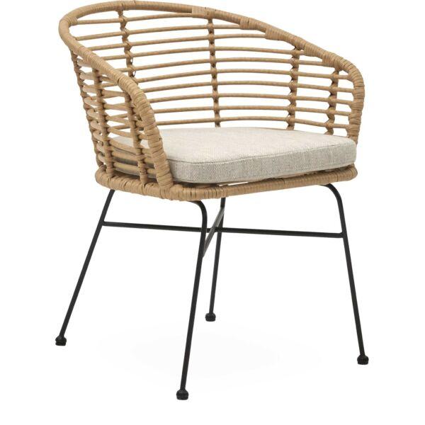 Bianchi kerti szék, natúr, fekete fém láb