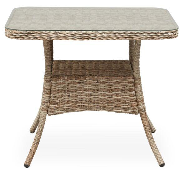 Henderson kerti asztal, üveg asztallap, natúr rattan váz