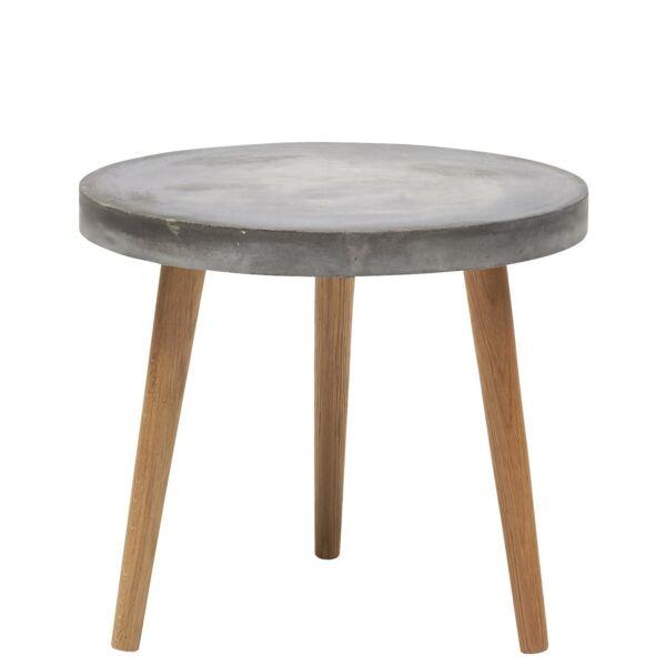 Heimdal D50 kerti lerakóasztal, cement asztallap, natúr fa láb
