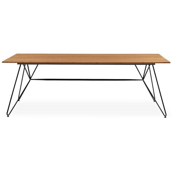 Sketch kerti asztal, olajozott bambusz, feketére festett fém láb